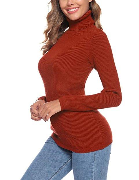 Outfit jersey rojo largo elástico con cuello alto para mujer