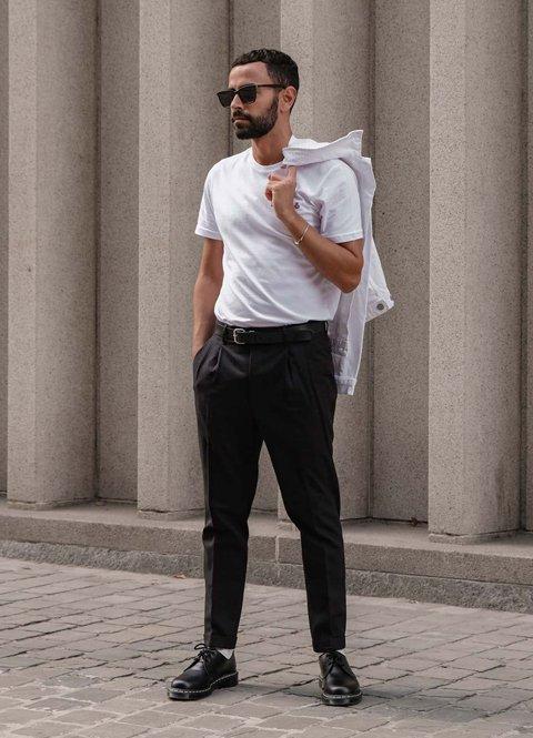 Outfit otoño blanco y negro casual para hombre