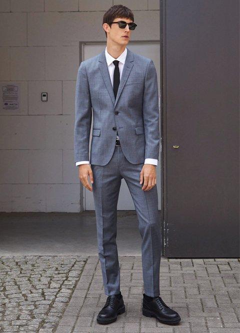Outfit otoño juvenil traje gris para oficina de hombre