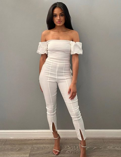 Outfit pantalón blanco de corte slim mujer