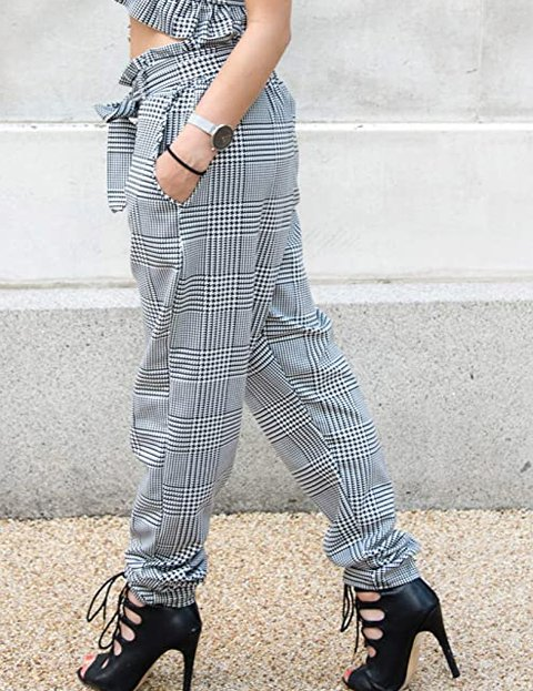 Outfit pantalón de cuadros mujer