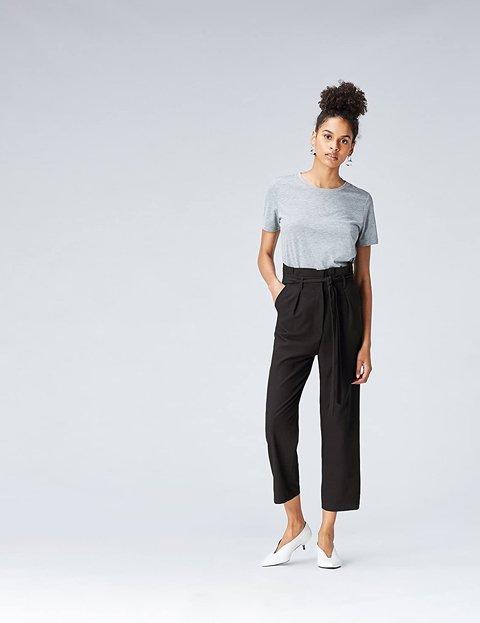 Outfit pantalón negro ancho mujer