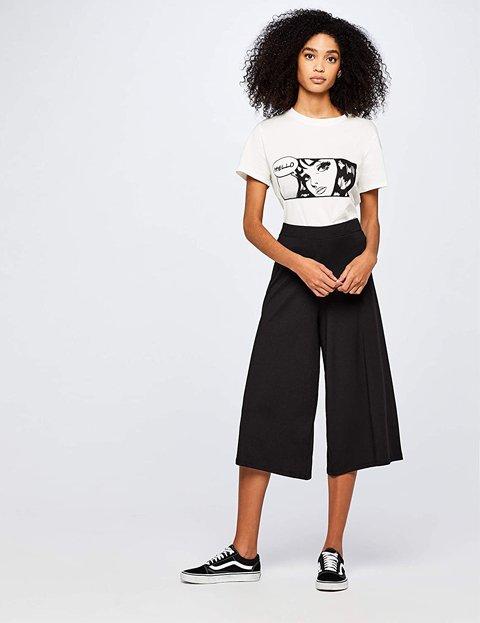 Outfit pantalón negro ancho para mujer