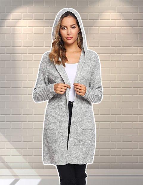 Outfit para mujer casual cárdigan de punto con capucha