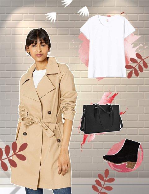 Outfit para mujer con gabardina camel