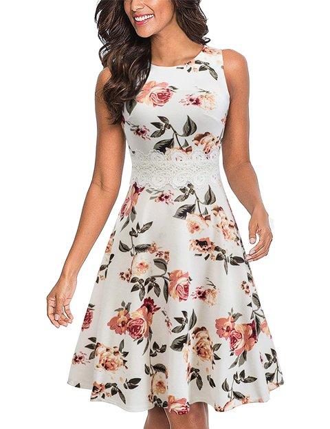 Outfit vestido floreado corto blanco