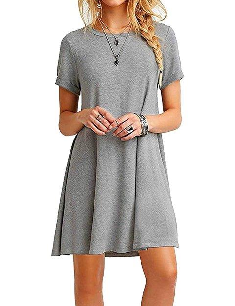 Outfit vestido gris casual