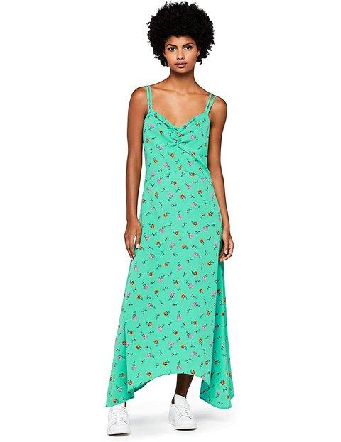 Outfit vestidos floreados largos verde agua
