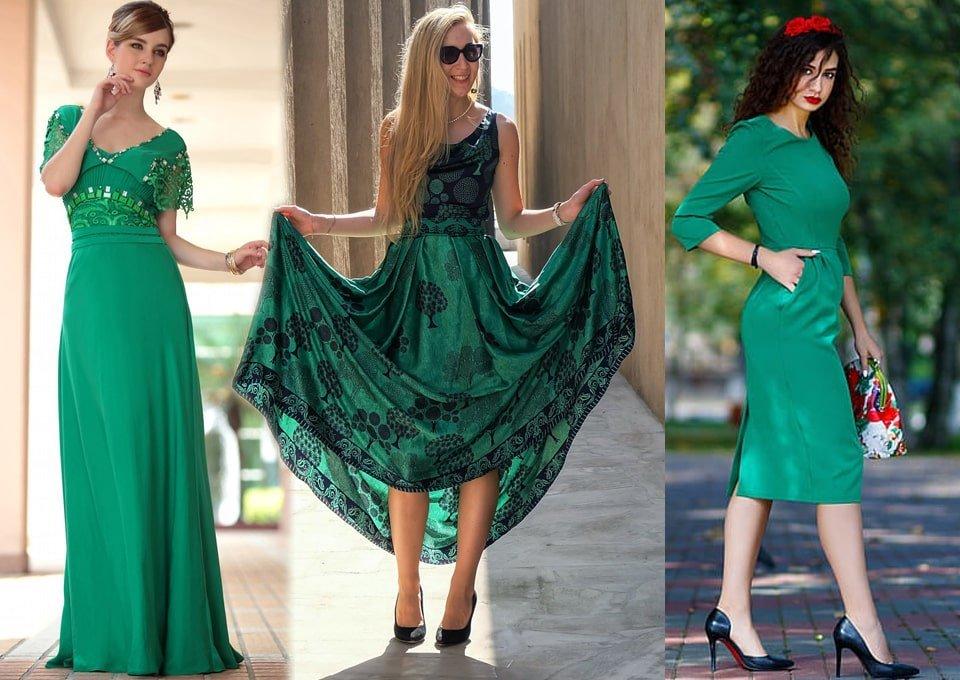Outfits con vestidos verde esmeralda