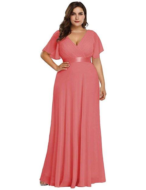 Outfits vestido largo rosa palo
