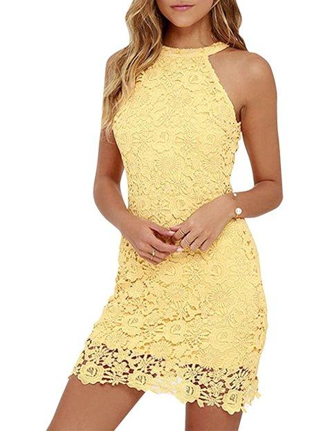 Outfits vestidos amarillos cortos