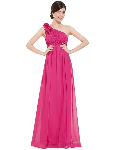 Outfits vestidos largos elegantes rosa fucsia