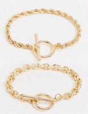 Pack de 2 pulseras en T con cadena texturizada en color dorado para mujer