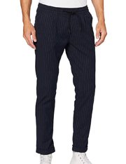 Pantalón azul a rayas con cintura elástica para hombre