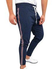 Pantalón azul ajustado de rayas verticales para hombre