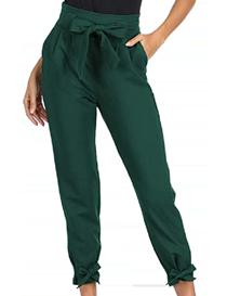 Pantalón capri de mujer verde oscuro