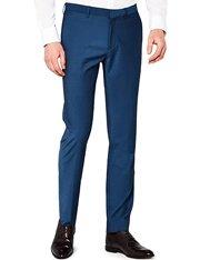 Pantalón de traje de talle medio color azul eléctrico para hombre
