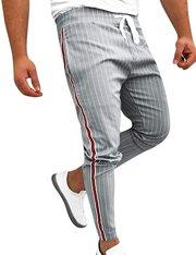 Pantalón gris ajustado de rayas verticales para hombre