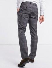 Pantalones de traje a cuadros grises de corte slim para hombre