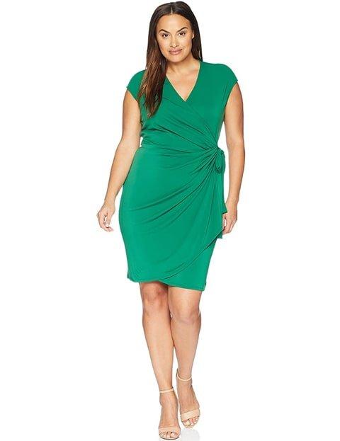 Vestido verde esmeralda corto en tallas grandes