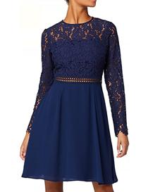 Vestido de encaje corto color azul elegante para mujer