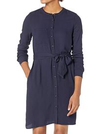 Vestido de manga larga azul con cuello de banda