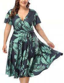 Vestido de mujer talla grande estampado floral 95% polyester, 5% spandex
