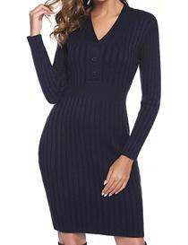 Vestido de punto estilo suéter color azul marino de mujer