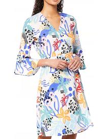 Vestido estampado corto cruzado de mujer