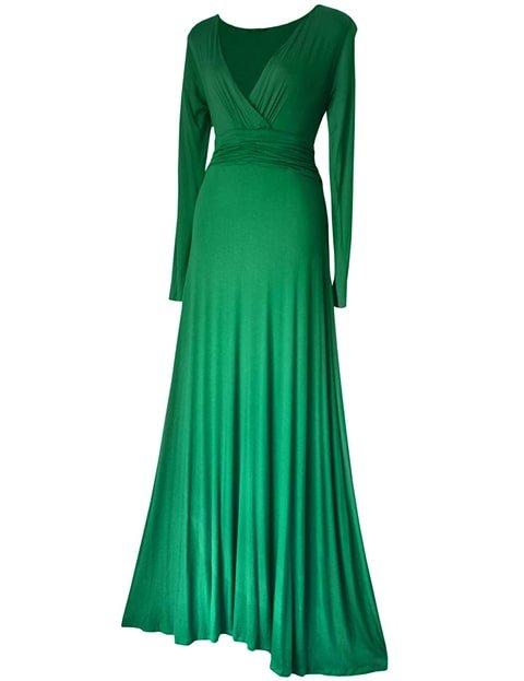 Vestido largo color verde esmeralda