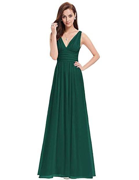 Vestido verde esmeralda largo de corte estilo imperio