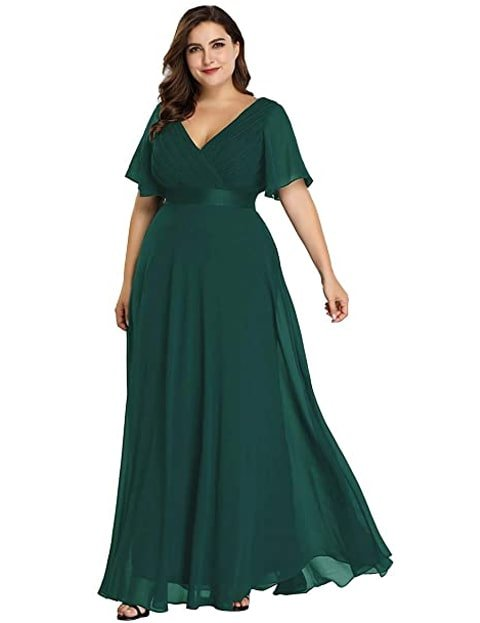Vestido verde esmeralda largo en tallas grandes corte imperio