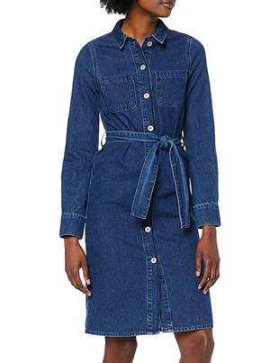 Vestido midi camisero estilo denim para mujer