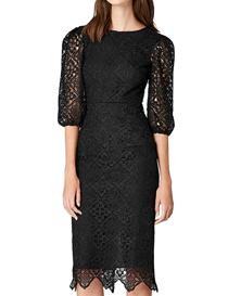 Vestido negro de encaje manga abullonada hasta el codo mujer