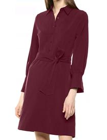 Vestido rojo apagado con cuello camisero para mujer
