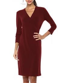 Vestido rojo manga tres cuartos de mujer