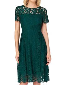 Vestido verde de encaje mangas cortas para mujer