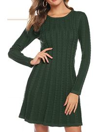 Vestido verde de punto manga larga