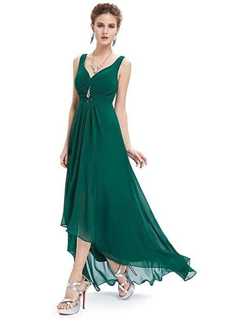 Vestido verde esmeralda de fiesta con encaje