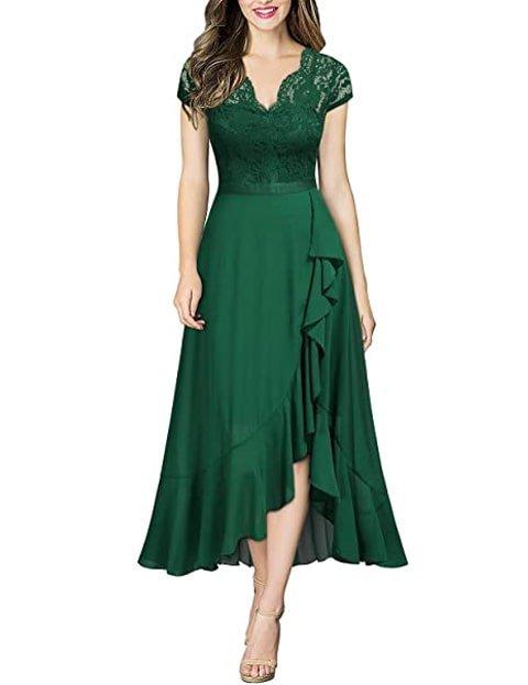 Vestido verde con encaje de flores