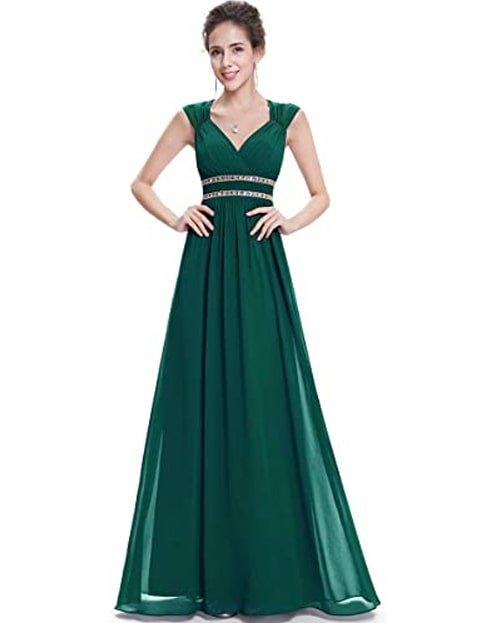 Vestido verde esmeralda largo con encaje