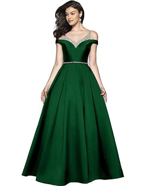 Vestido verde esmeralda largo elegante