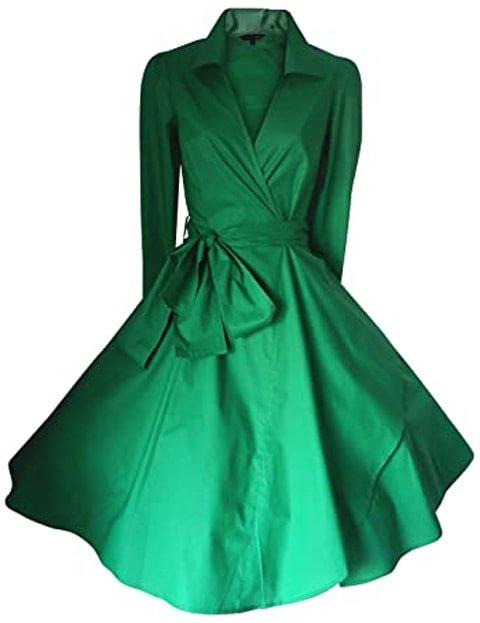 Vestido verde esmeralda por encima de los tobillos
