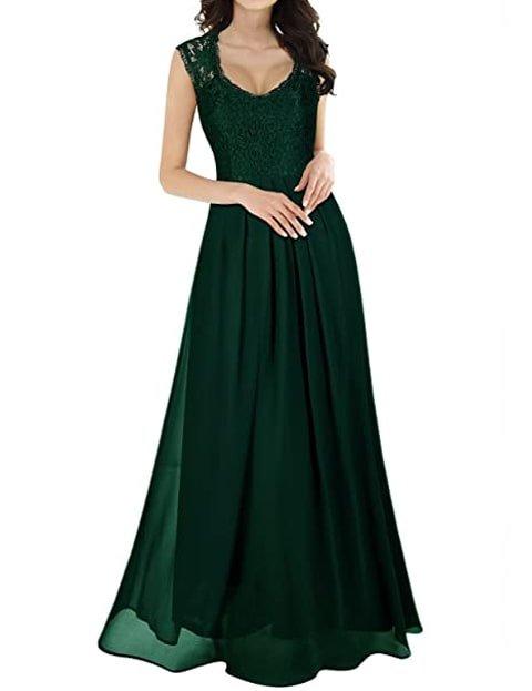 Vestido verde largo con encaje de fiesta