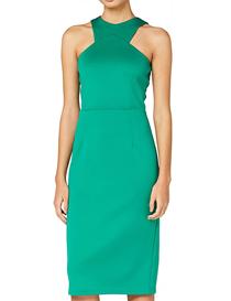 Vestido verde sin mangas para mujer