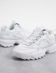 Zapatillas blancas de terciopelo con estampado de rombos Disruptor II mujer