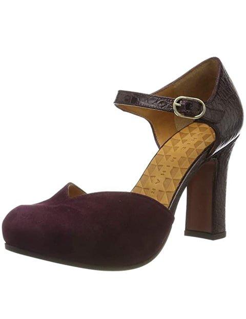 Zapatos de tacón con correa burdeos