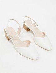 Zapatos de tacón medio con puntera cuadrada en blanco mujer