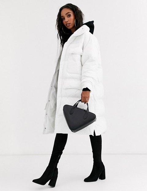 Outfit abrigo blanco largo para mujer